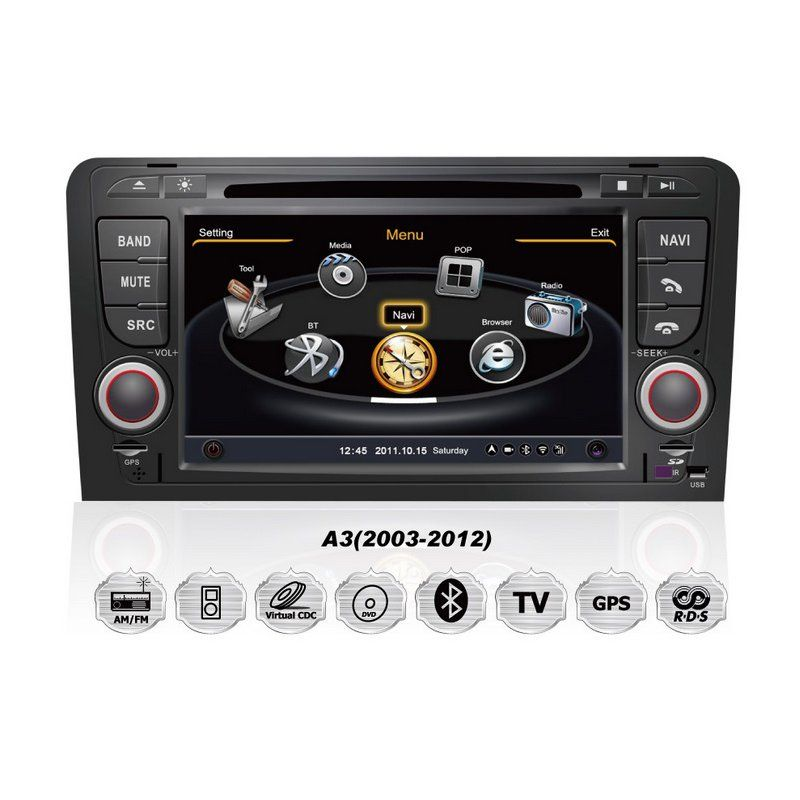 audi a3 rns s100 autoradio dvd gps einbau navigationssystem car gps navigation system. Black Bedroom Furniture Sets. Home Design Ideas
