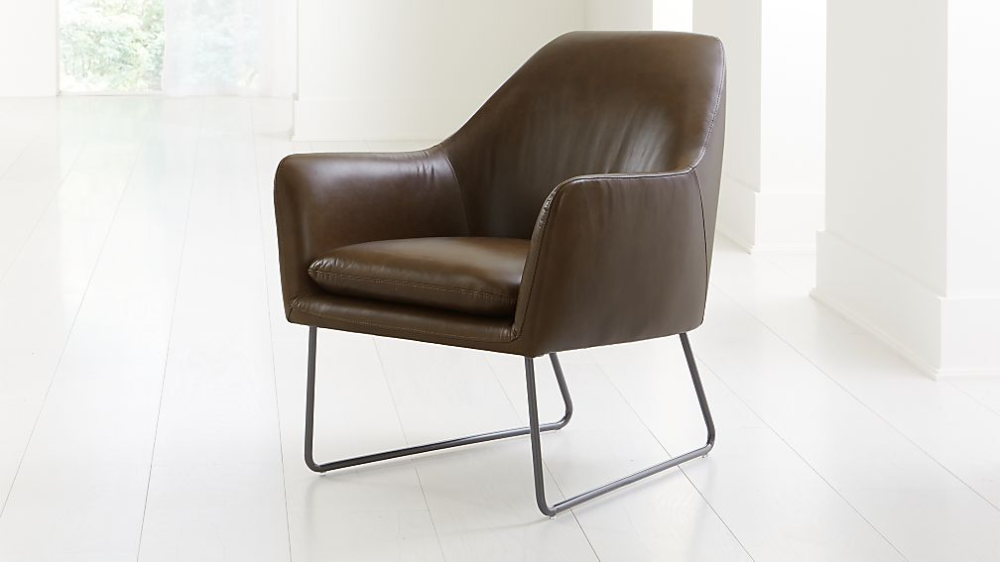 Clancy Leather Chair + Reviews Crate and Barrel Chair