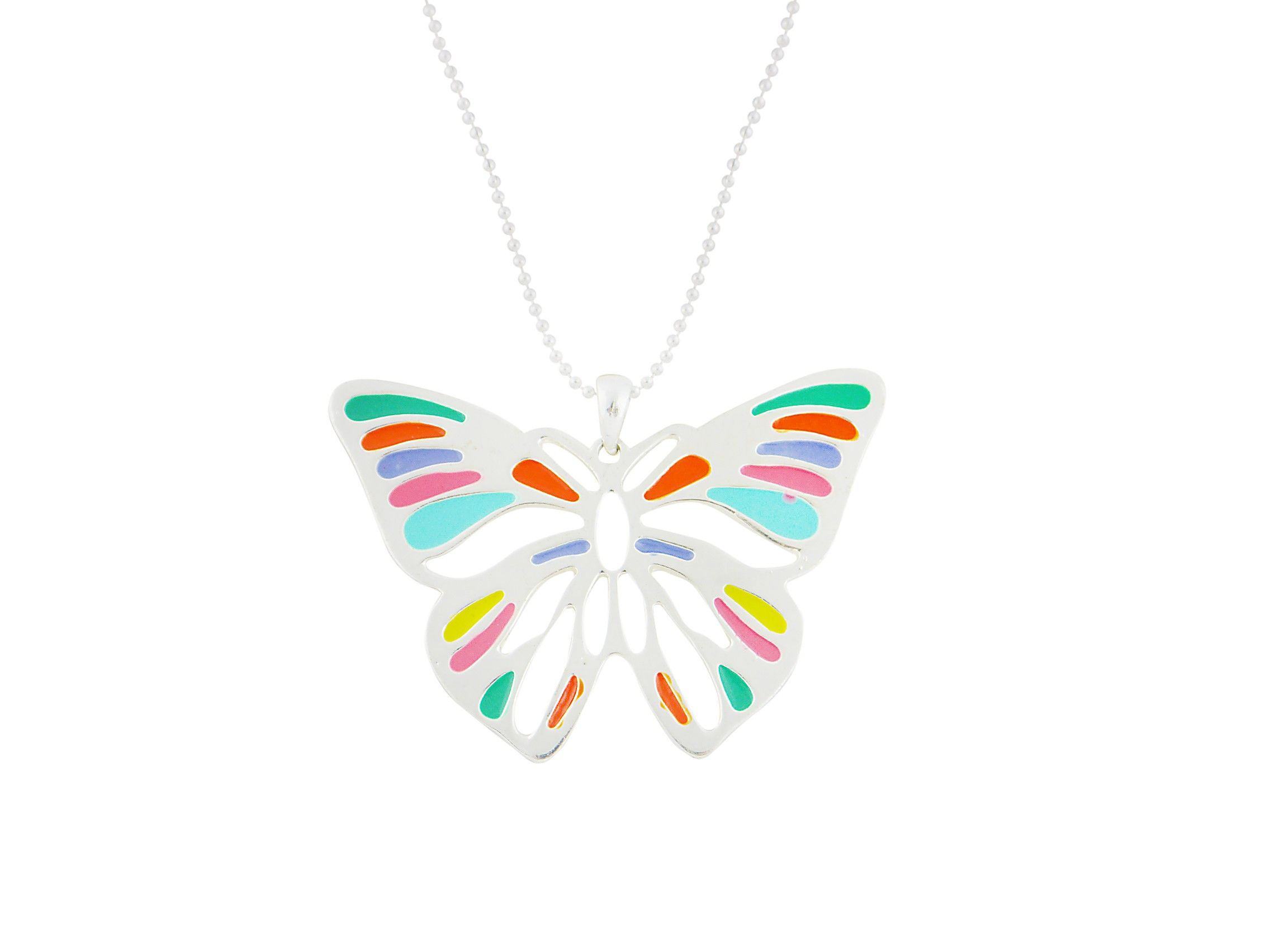 Long multicolour butterfly pendant necklace butterfly jewellery
