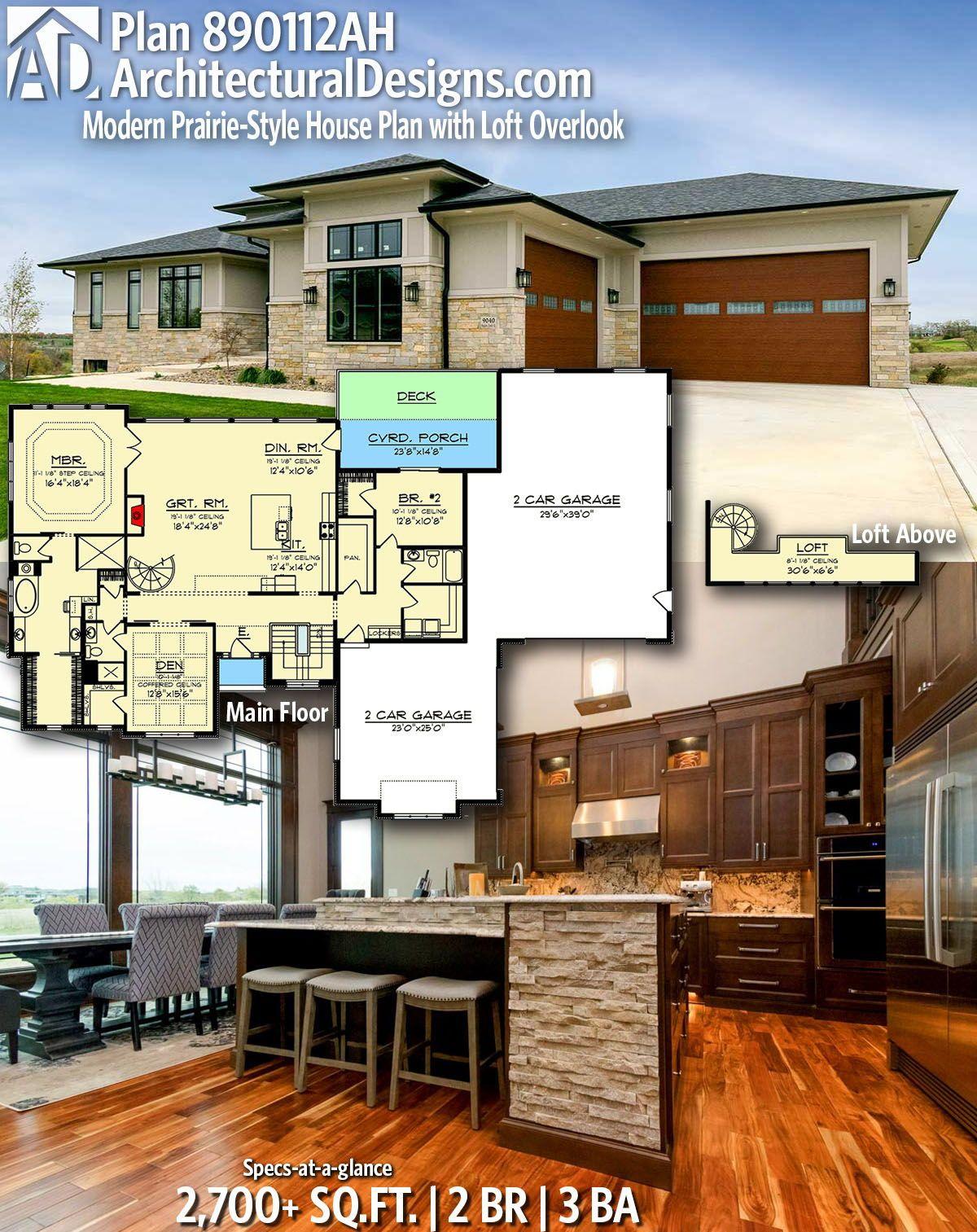 Plan 890112ah Modern Prairie Style House Plan With Loft Overlook In 2020 Prairie Style Houses Modern House Plans House Plan With Loft