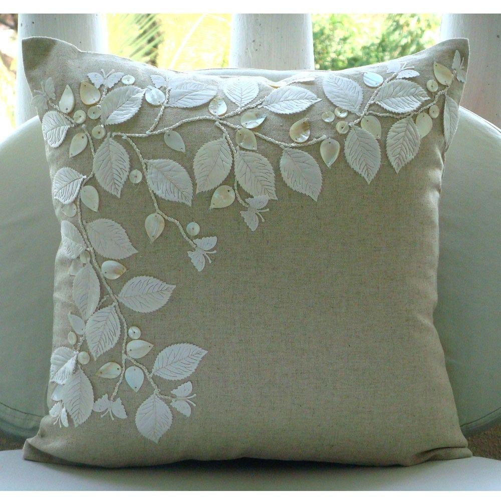Handmade ecru cushion covers rail of leaves mother of pearls