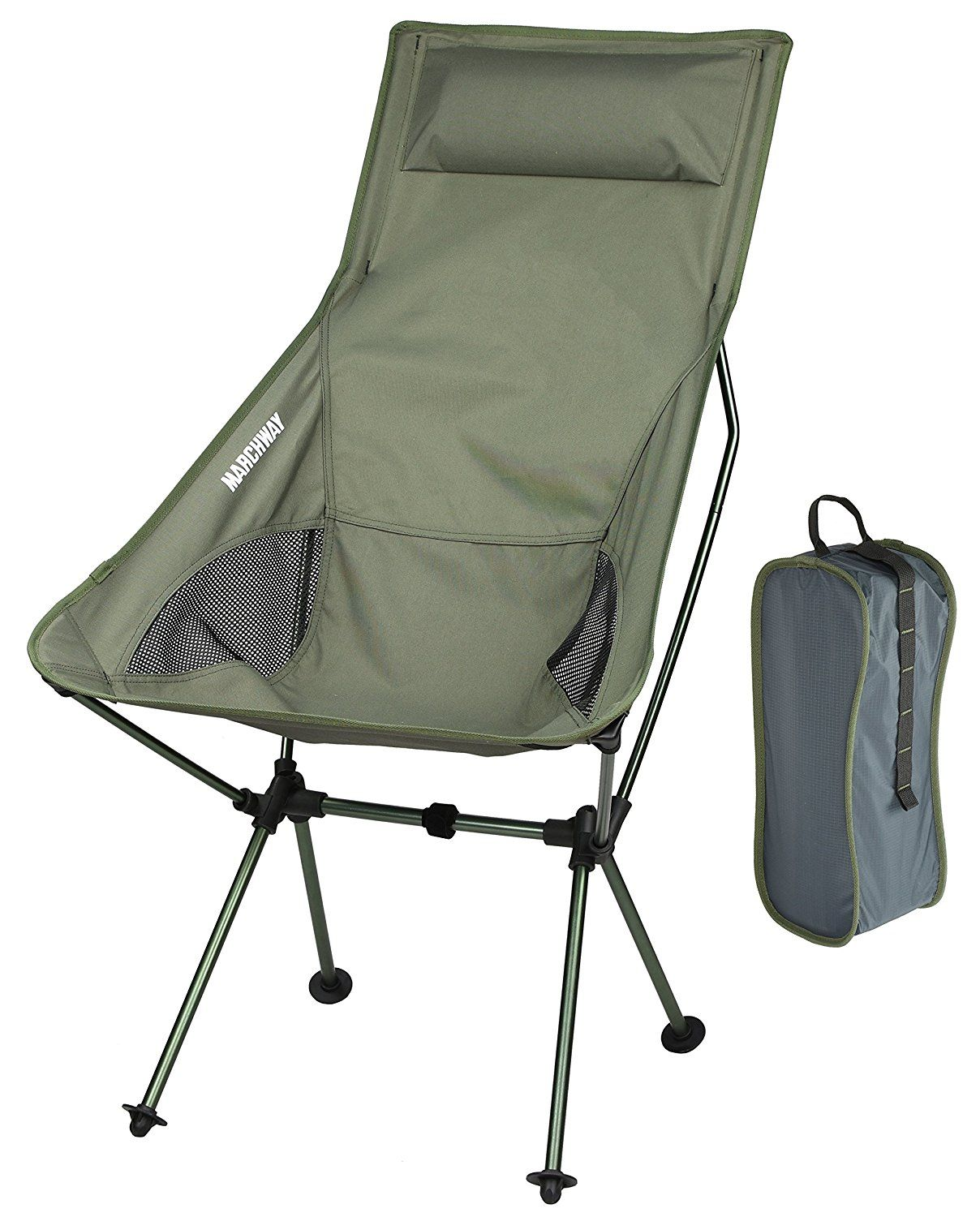 Lightweight camping chairs - Marchway Lightweight Portable Folding High Back Camping Chair With Pillow For Outdoor Sport And Travel