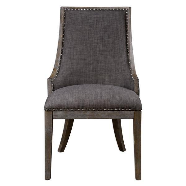Elegant Curved Accent Chair U2013 Warm Grey