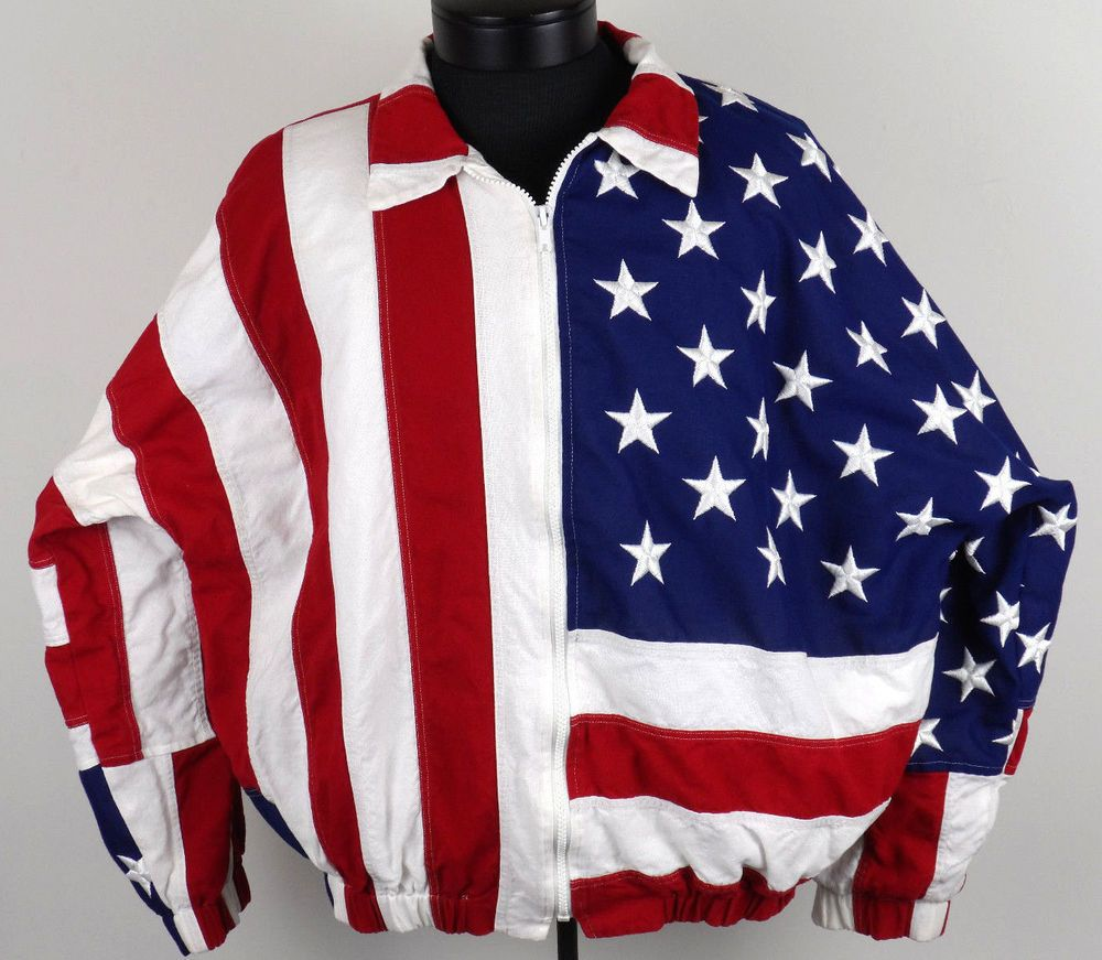 Limited Edition American Flag Jacket Stars Stripes Mens Xl Red White Blue Usa Jackets Mens Xl Red White Blue