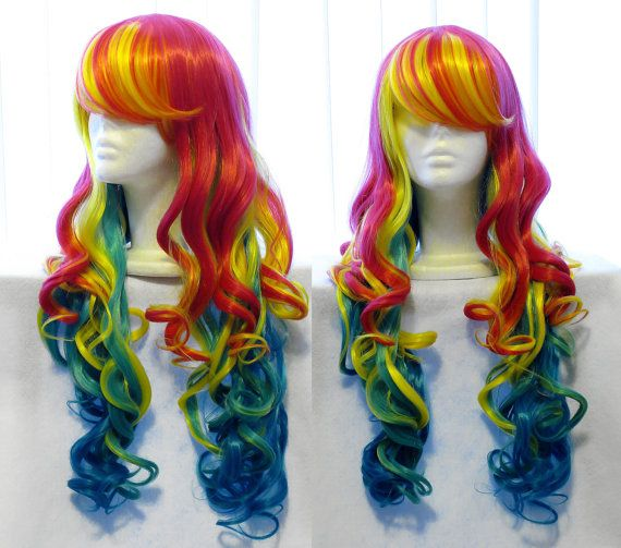 Bright Colorful Rainbow Wig Gradient Rainbow Ombre Wig