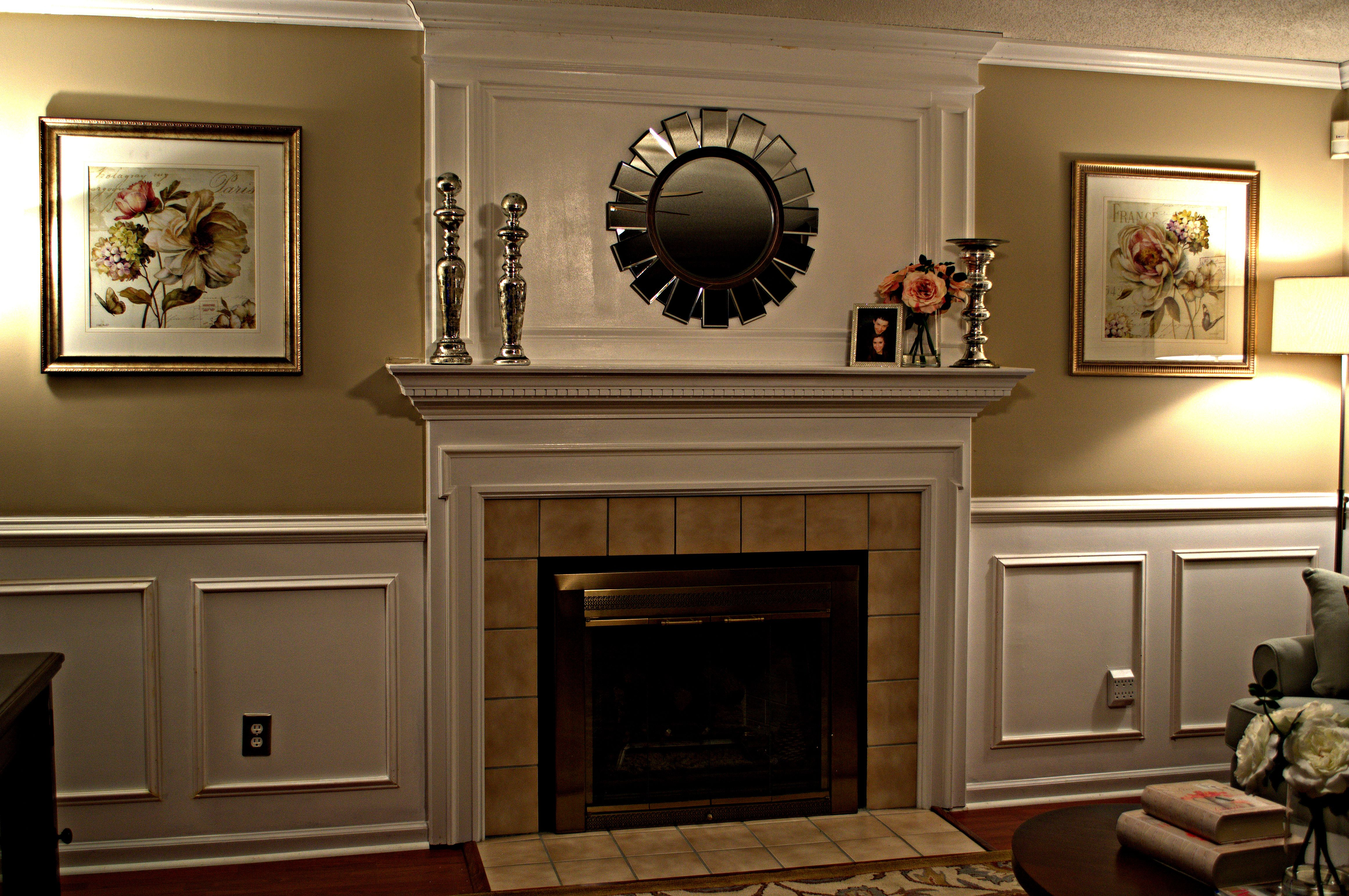 Paneling above fireplace fireplace overmantle for Crown molding ideas for living room