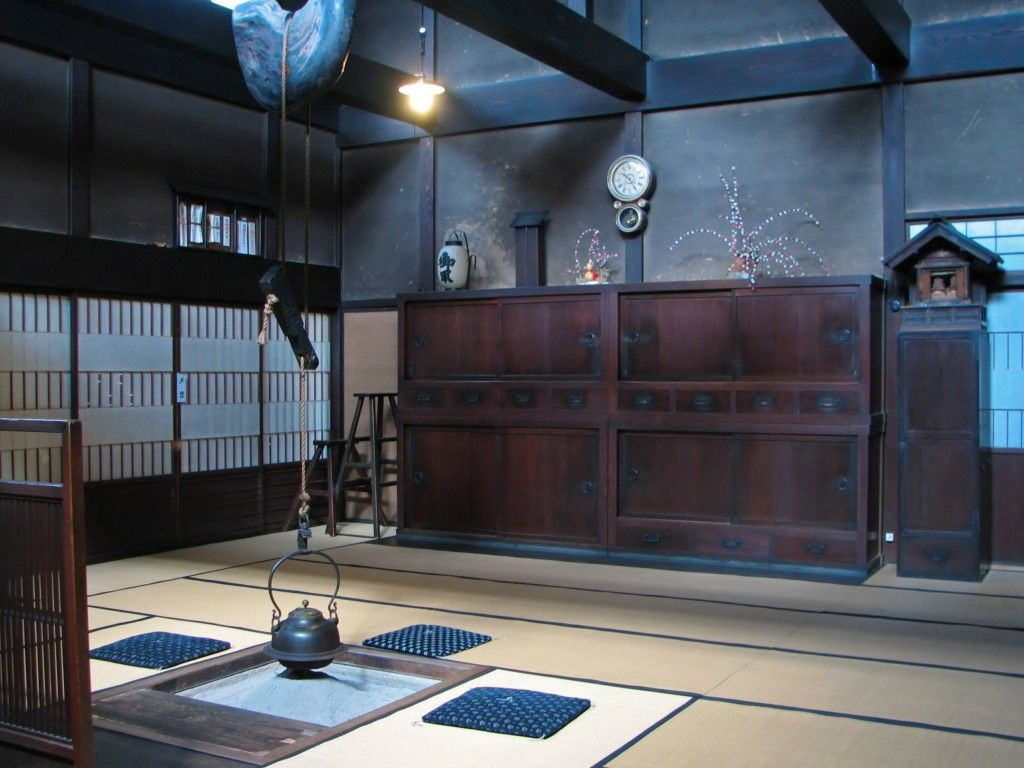 traditional japanese houses featured an open fireplace or sunken hearth made of iron called an irori - Traditional Japanese Home Design