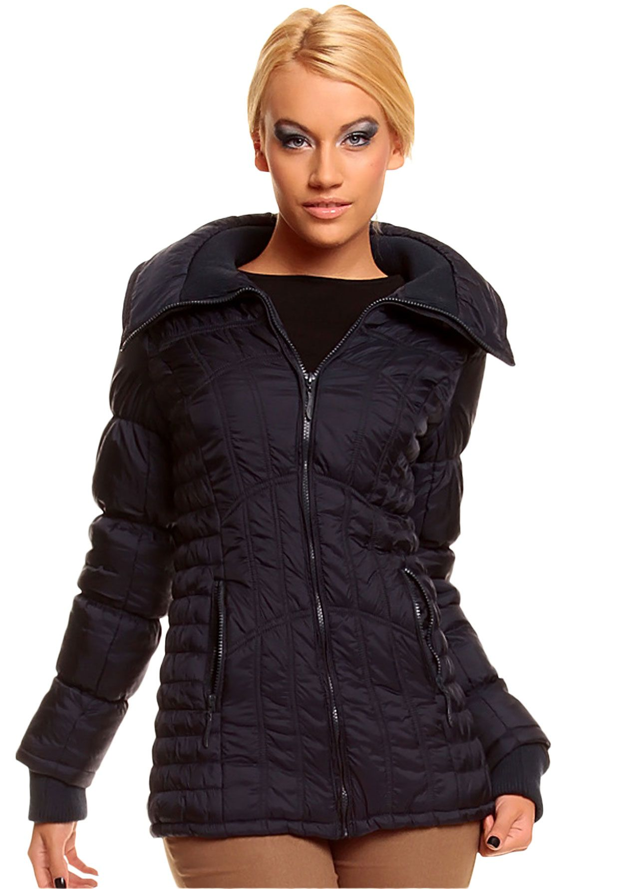 Casual Women's Jacket Navy Blue with High Neck Waisted Winter Jacket