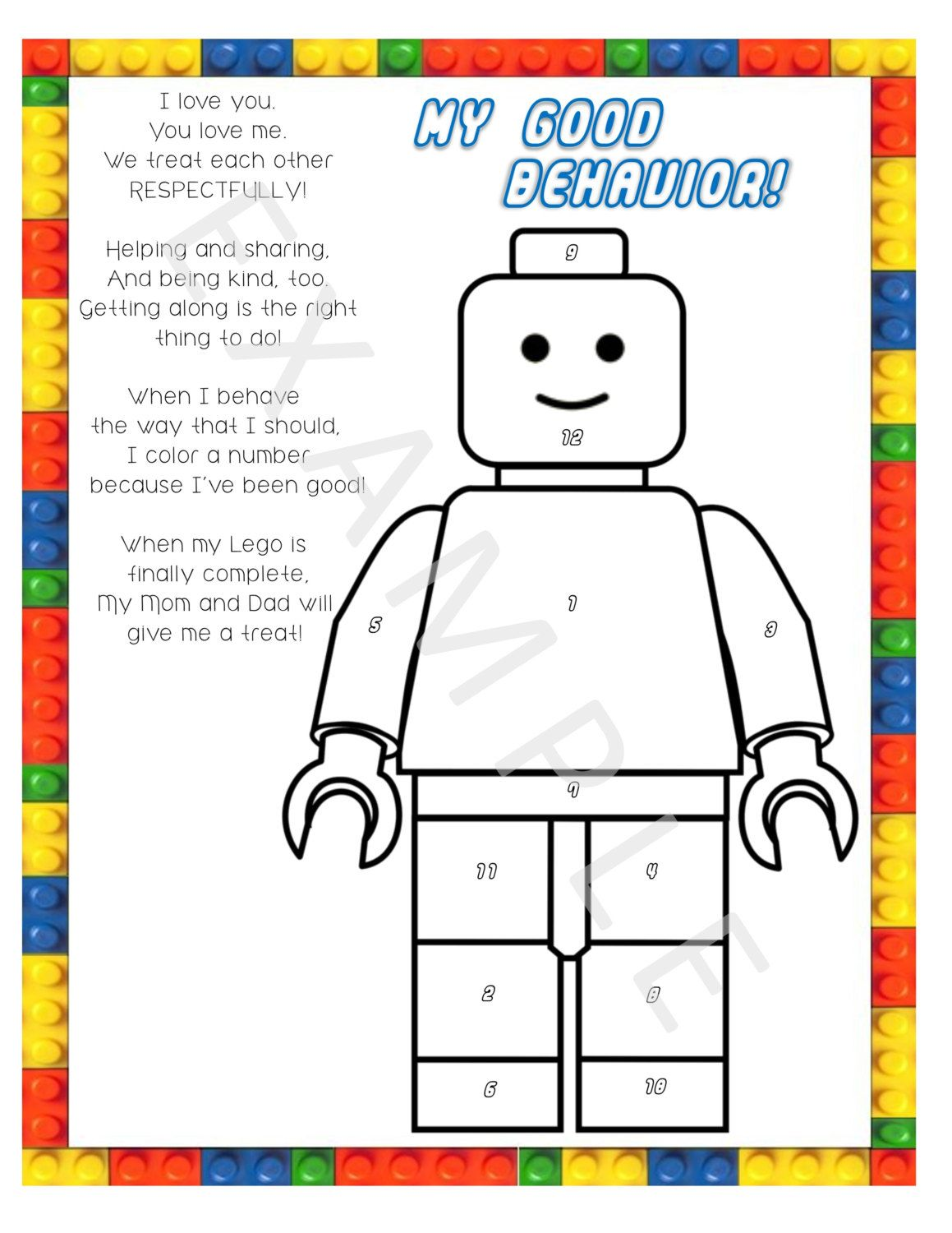 Color The Number Kids Lego Behavior Chart By Dunnwiththree