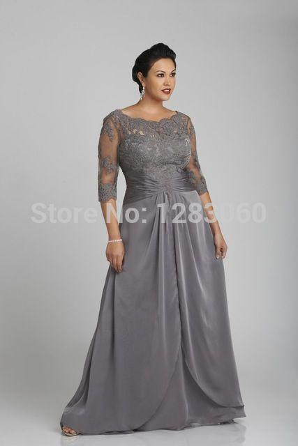 Más el tamaño lf2739 madre de la novia viste 2015 por encargo de la media manga de la cucharada de encaje de raso de noche la madre vestidos envío gratis YY0479