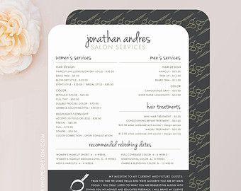 elegant name hair stylist price menu rack card barber services menu