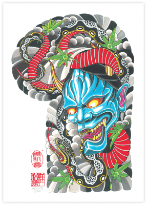 hannya mask and snake tattoo images galleries with a bite. Black Bedroom Furniture Sets. Home Design Ideas