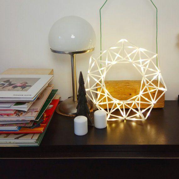 Photo of Geometrische Nachttisch Lampe, moderne Kranz Nachtlicht, Hygge Licht Wandleuchte
