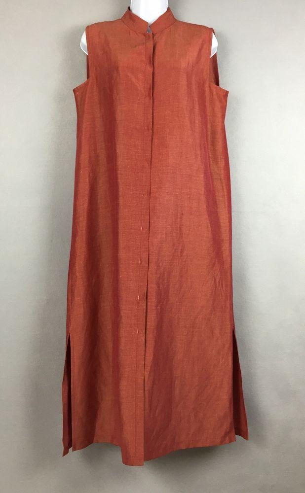 Eileen Fisher Silk Linen Shirt Dress Sz M Sleeveless Button Front Mid Calf Brick Linen Shirt Dress Midi Shirt Dress Womens Dresses