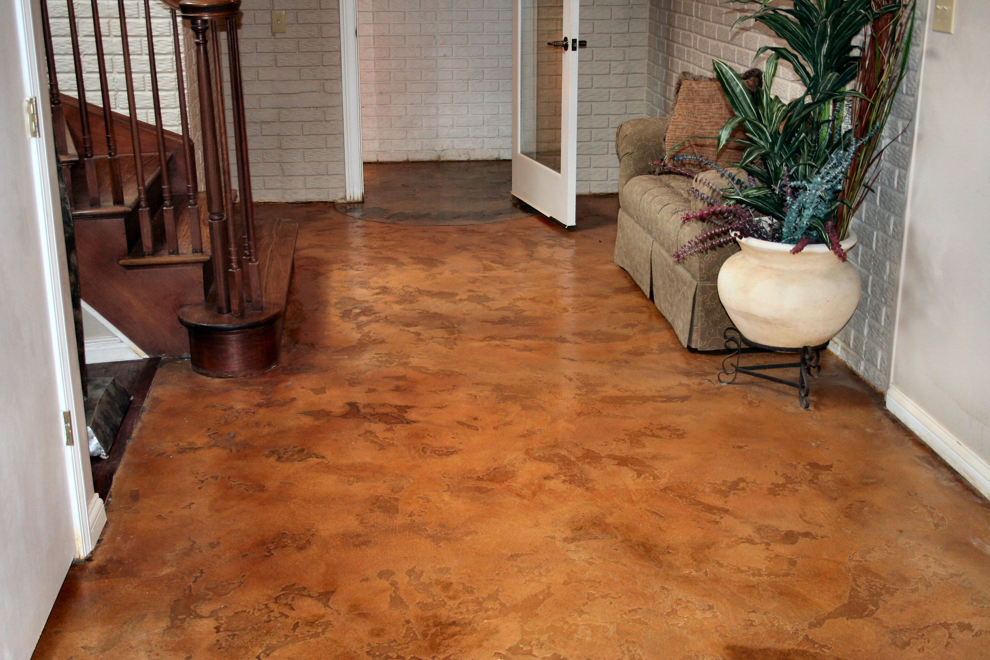 Concrete patio stain colors this is a skip trowel finish for Colored concrete floors