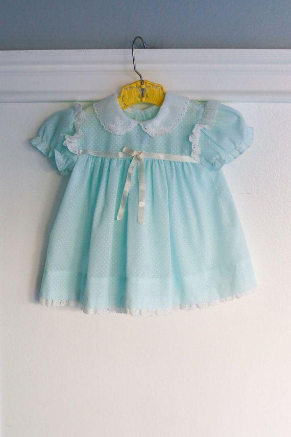 9-12 months: Vintage Baby Dress Aqua Blue/ Mint by Petitpoesy www.etsy.com/shop/petitpoesy