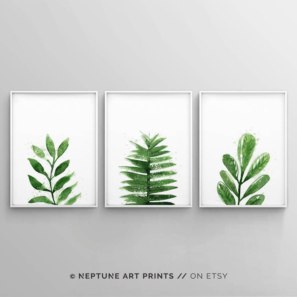 Botanical print sets palm leaf prints tropical leaves printable