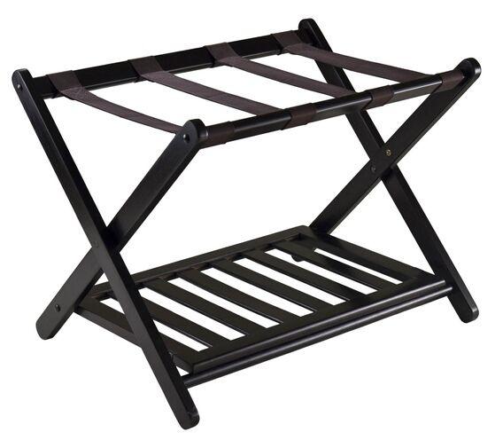 Dark Espresso Reese Luggage Rack with shelf - A.M.B. Furniture & Design