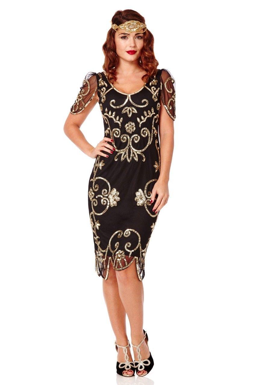 Gatsbylady rosemary us vintage inspired flapper dress black gold