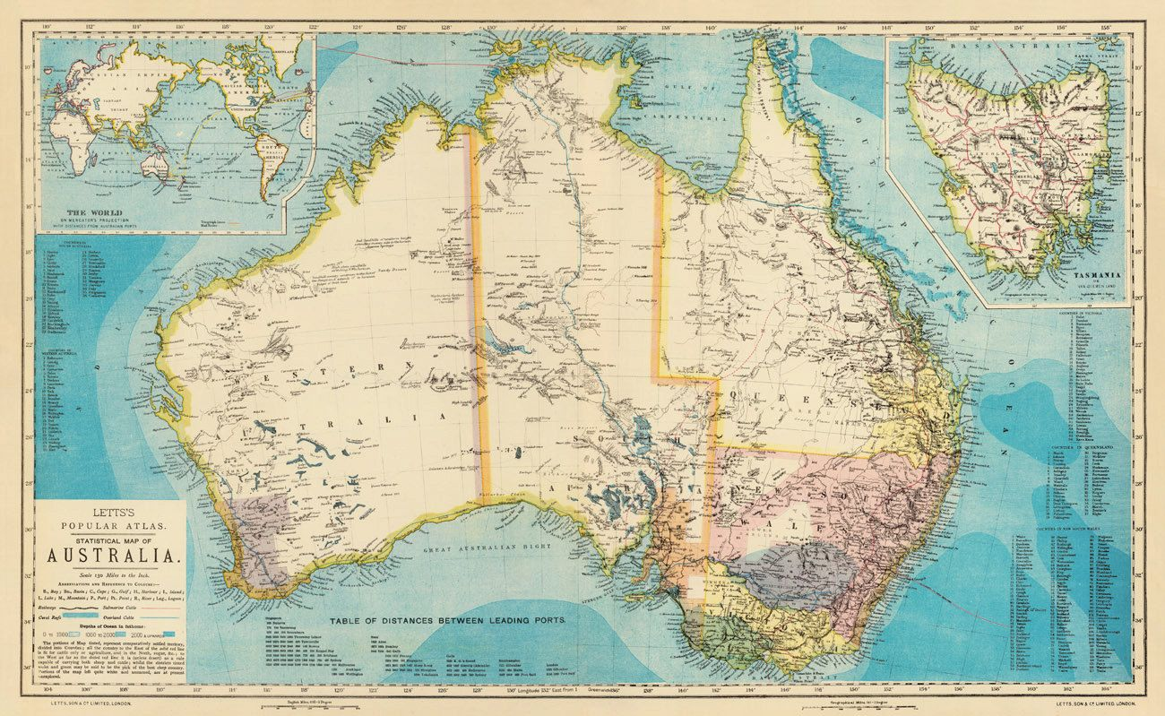 Map of Australia from 1883