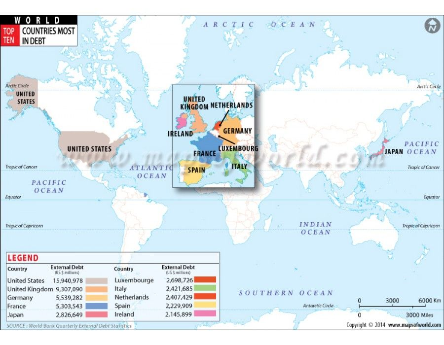 Buy ten countries with most debt depicted on world map buy world and usa maps online gumiabroncs Choice Image