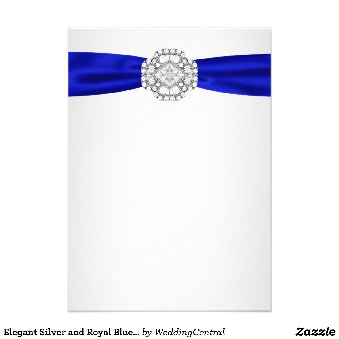 Elegant Silver And Royal Blue Wedding Invitations Zazzle