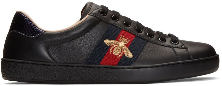 f4f1a17e25970d GUCCI Black New Ace Bee Sneakers.  gucci  shoes  sneakers