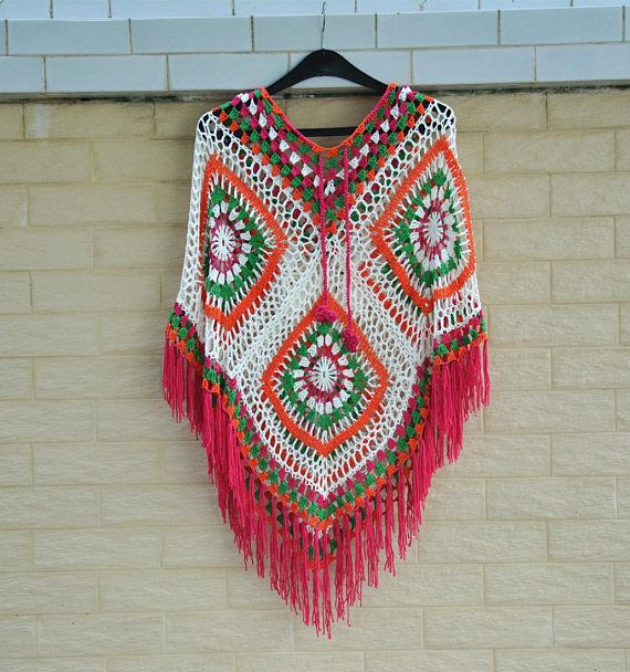 Hooded Crochet Granny Square Ponchos with Fringes in Bright Colors ...