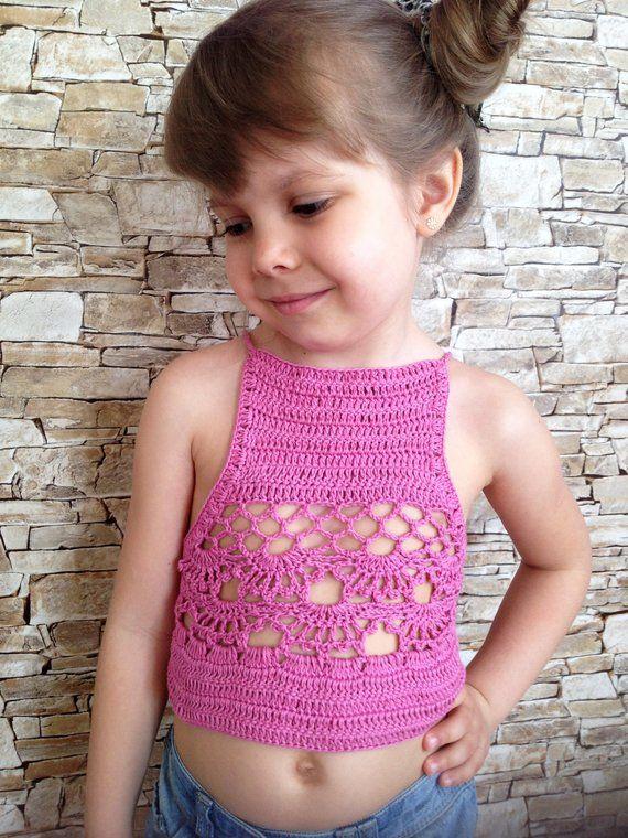 Crochet toddler baby top bra Light blue open back cotton