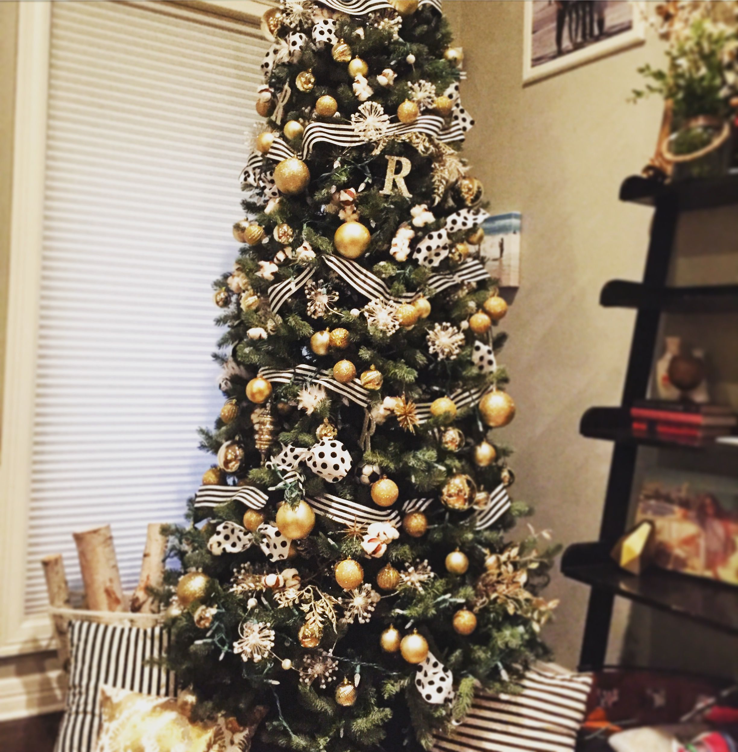 Black And White And Gold Christmas Tree Gold Christmas