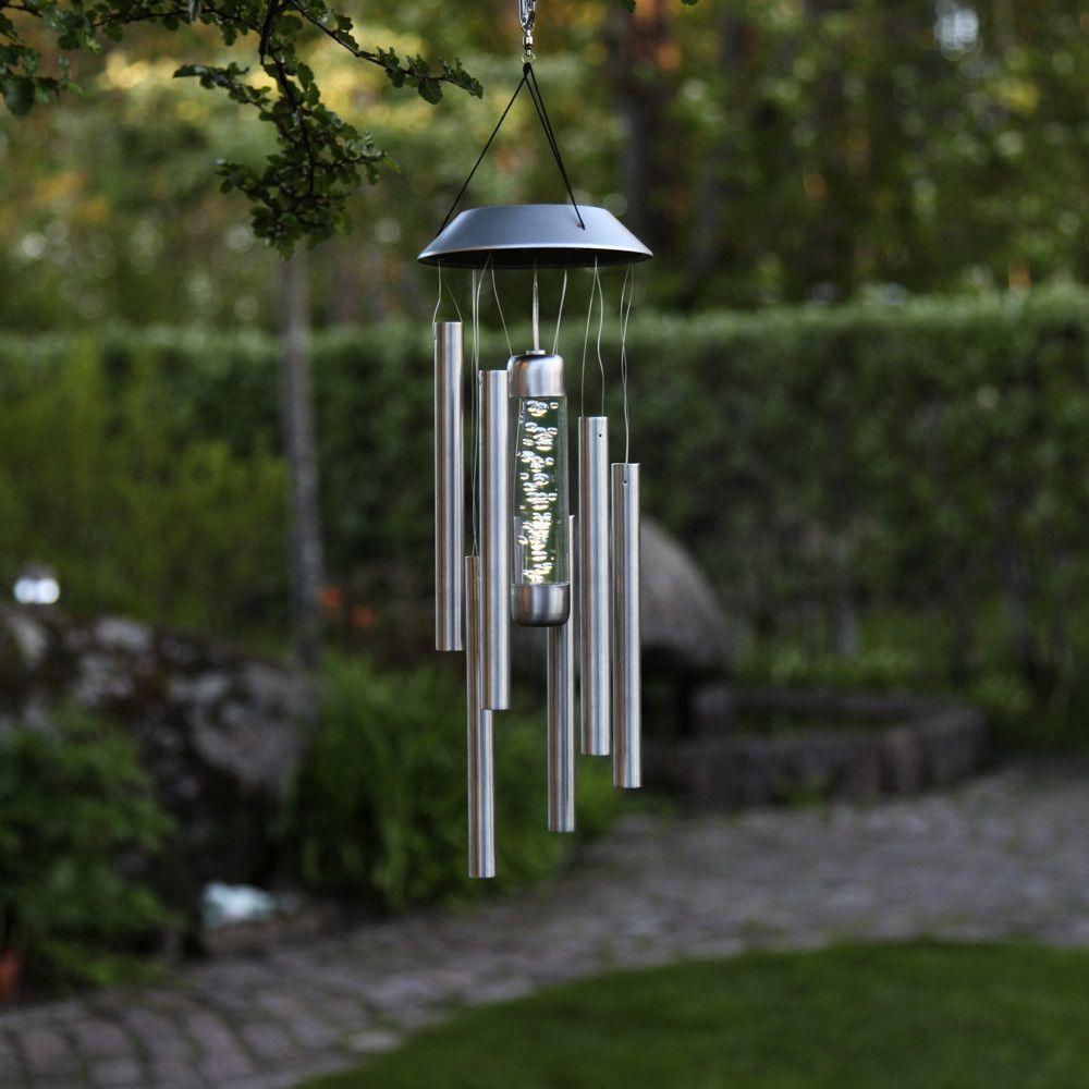 Dekoration mit Beleuchtung NEU Garten Gartenleuchte mit Windspiel und LED Solar