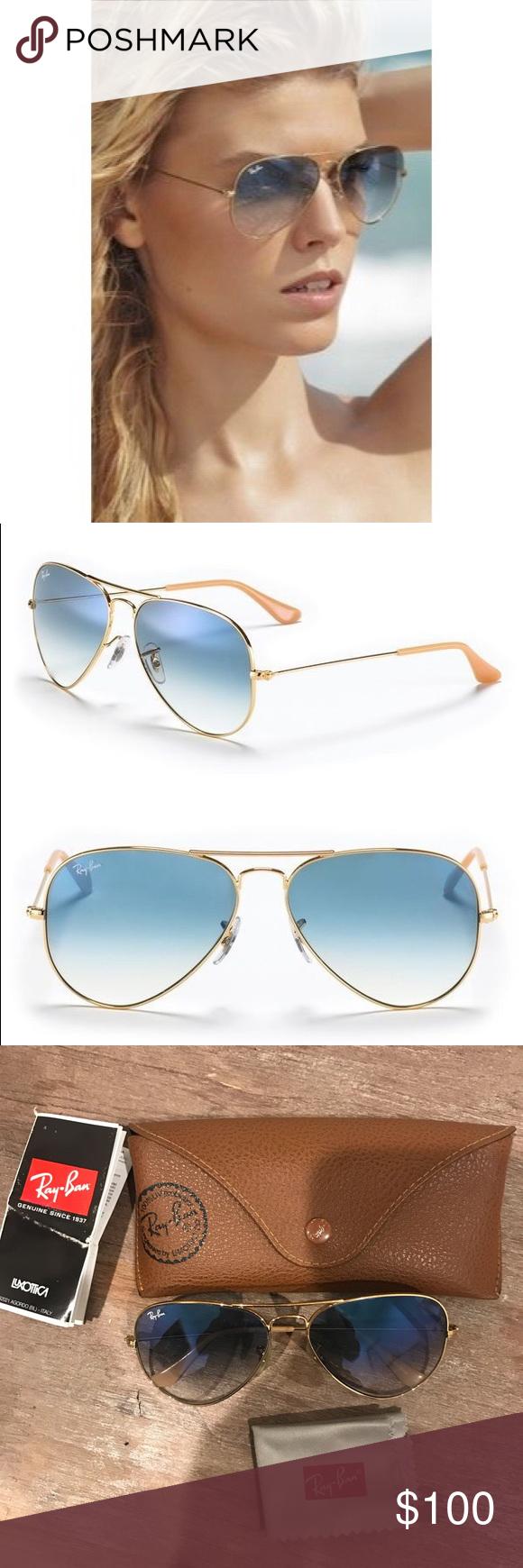 6cbea50193 Ray-Ban Aviators AVIATOR GRADIENT FRAME:Gold LENSES:light blue gradient Ray- Ban Accessories Sunglasses