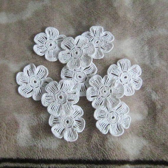 Crochet flower motives, white flower applique, Irish lace cotton dentelle, scrapbook crochet elements flower, crochet decor flower #crochetelements