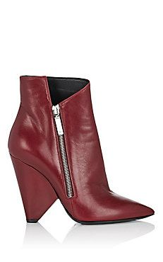 77a00c9392 Triangle-Heel Leather Ankle Boots | Leave Your Shoes On!!! | Shoes ...