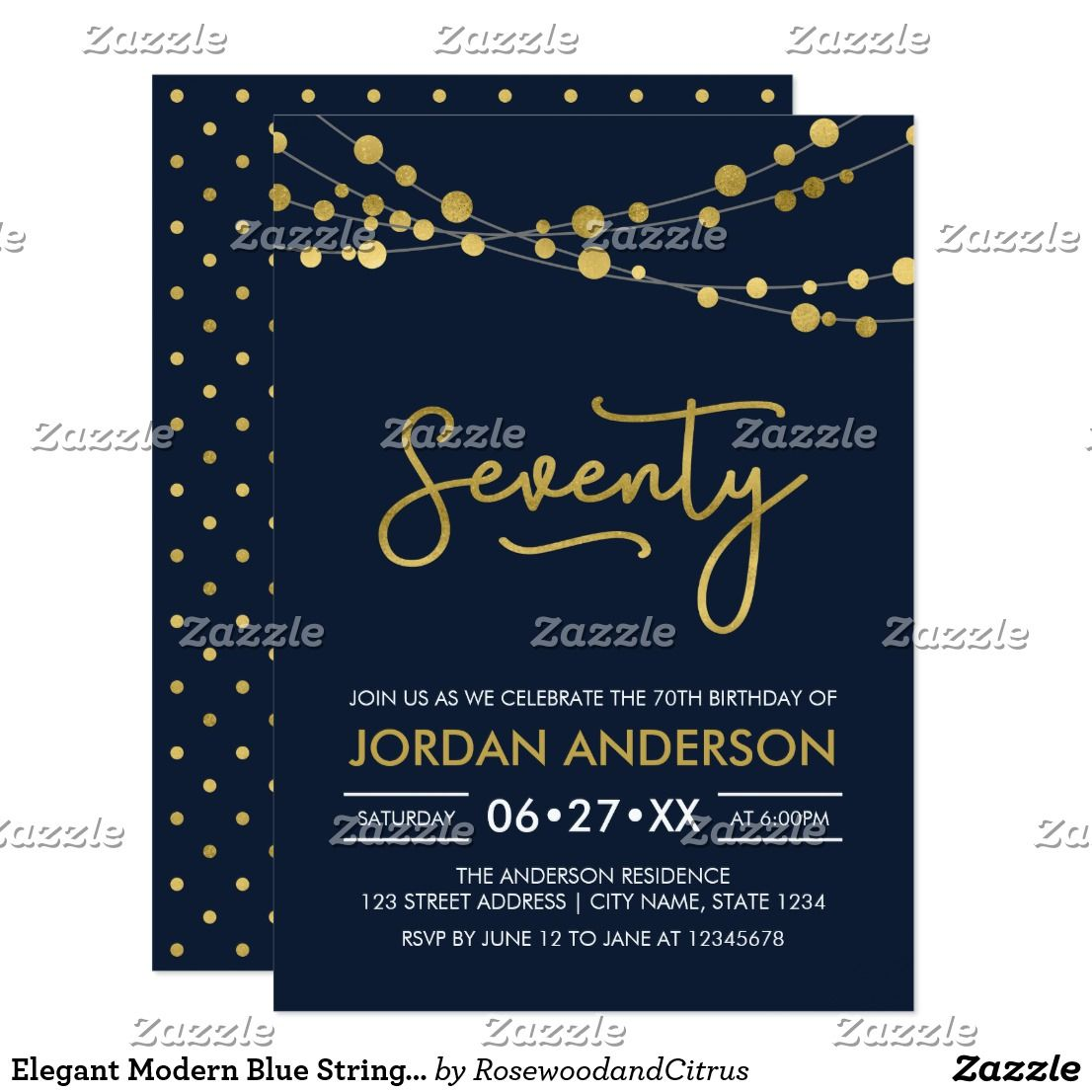 Elegant Modern Blue String of Lights 70th Birthday Card | 70th ...