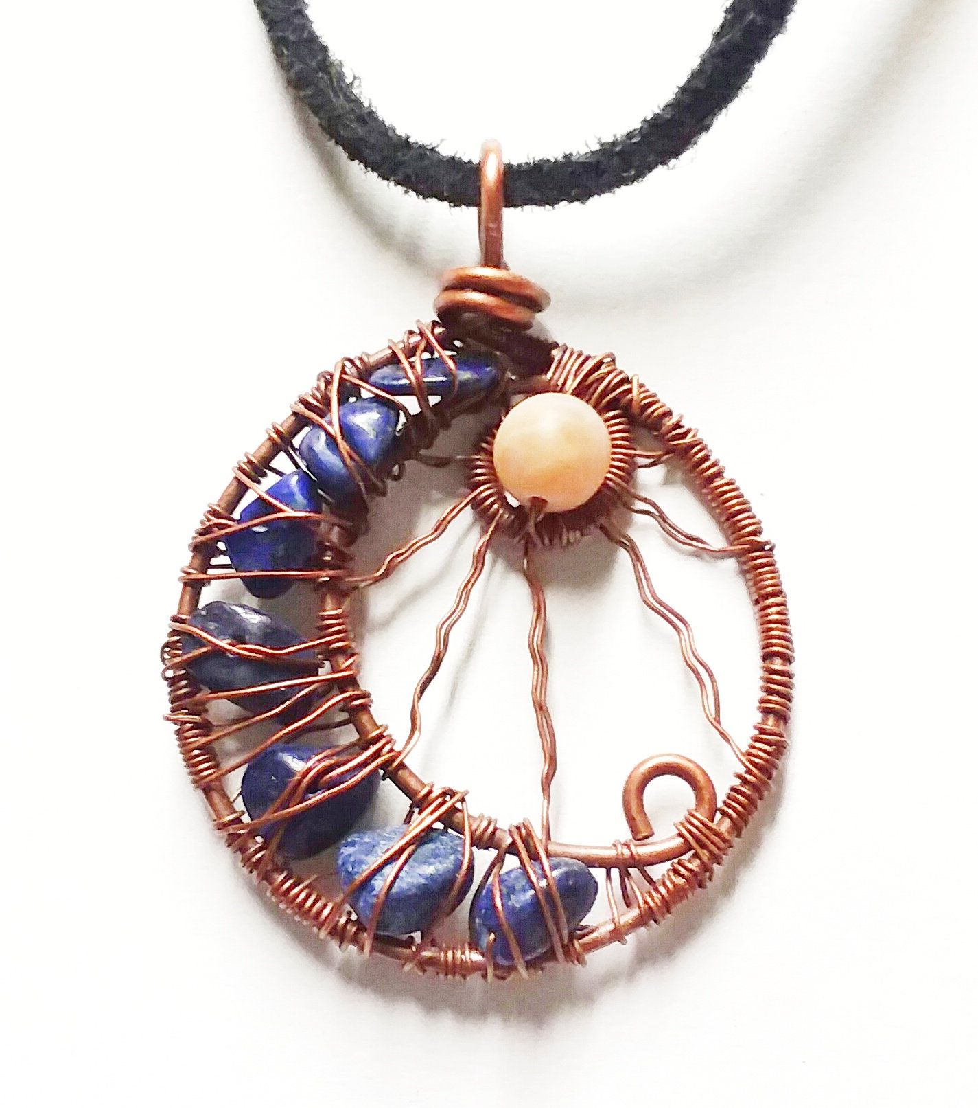 Photo of Copper Wire Wrapped Sun & Moon Necklace, lapis lazuli (dyed) and moonstone natural stone pendant, handcrafted jewelry, Rocky Road Jewelry