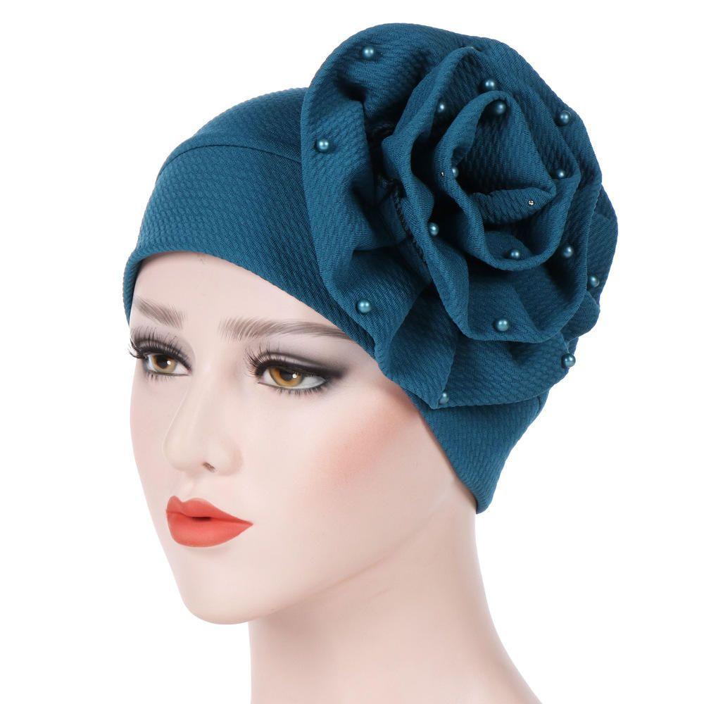 Headband Big Flower Hijab Chemo Cancer Hats Turban Muslim Cap Elastic Head Wrap
