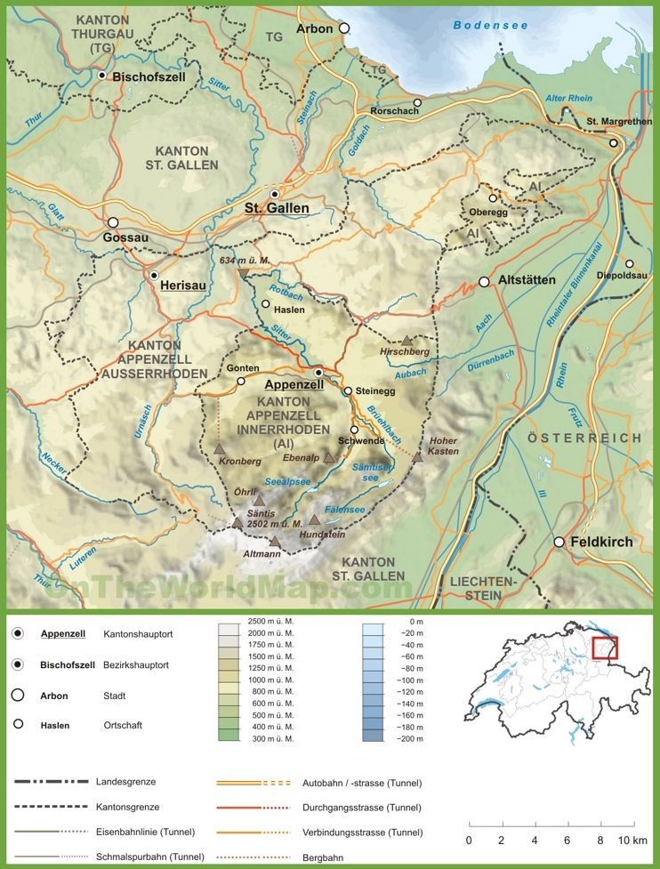 Canton of Appenzell Innerrhoden road map Maps Pinterest