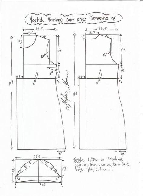 Patrón Vestido Vintage con pliegues | Patrones jovana | Pinterest ...