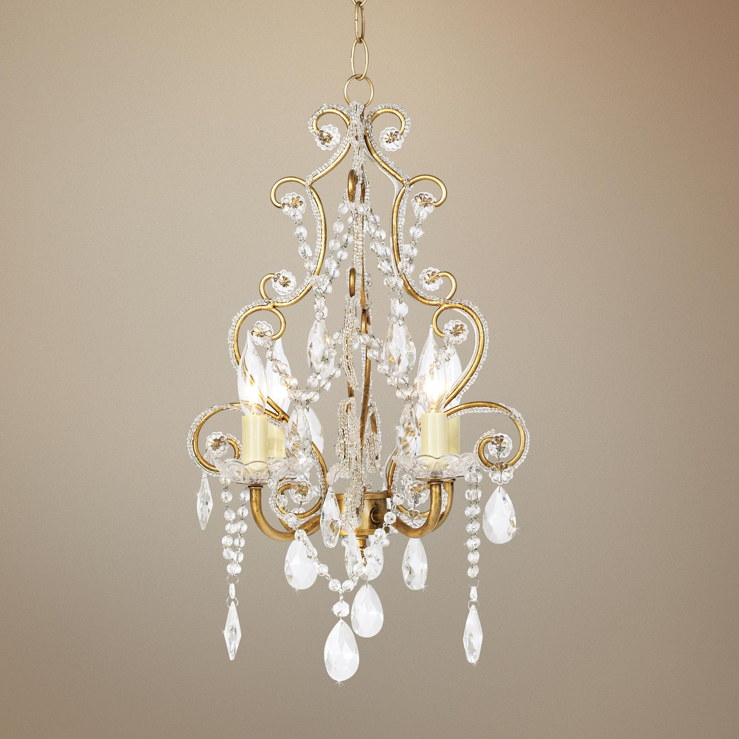 Antique Gold with Clear Beads Swag Plug In Chandelier from Lamps