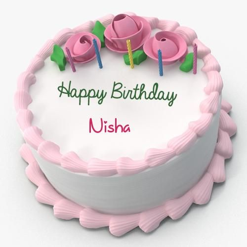 Write Name On Pink Floral Toppins Happy Birthday Cake Happy
