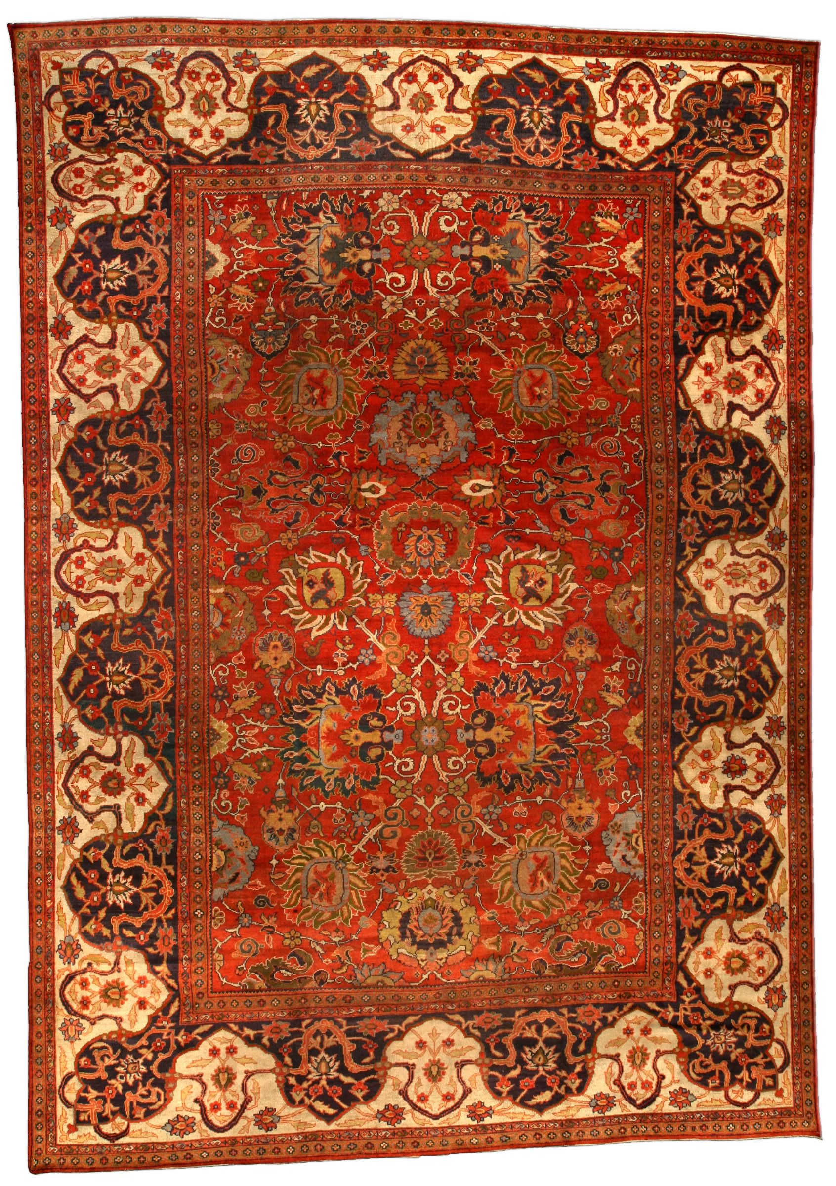 A Late 19th Century Persian Sultanabad Antique Carpet The Tomato Red Field With An Allover Lattice Of Stylized Polych Antique Persian Rug Antique Carpets Rugs