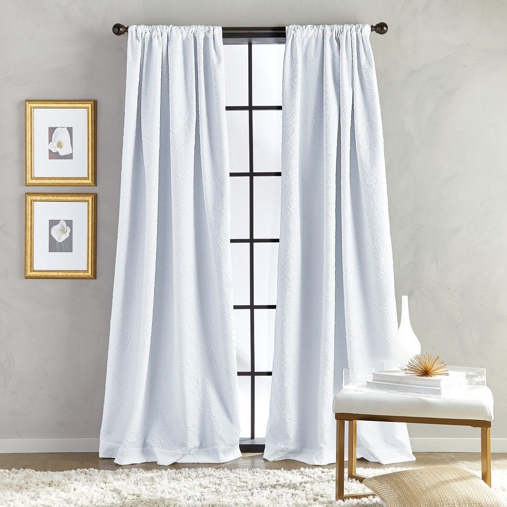 84 Bloomsbury Poletop Lined Curtain Panel White Panel Curtains