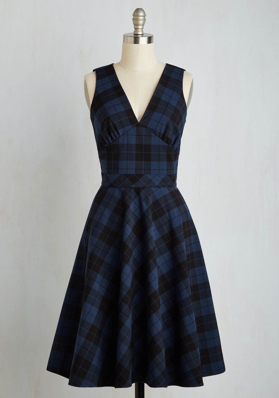 e493a7640b7 On Top of the Whirl Dress. All it takes is zipping into this plaid midi for  you to feel your absolute best!  blue  modcloth