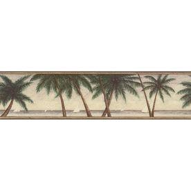 "allen   roth 6-3/4"" Green Palm Tree Prepasted Wallpaper Border"