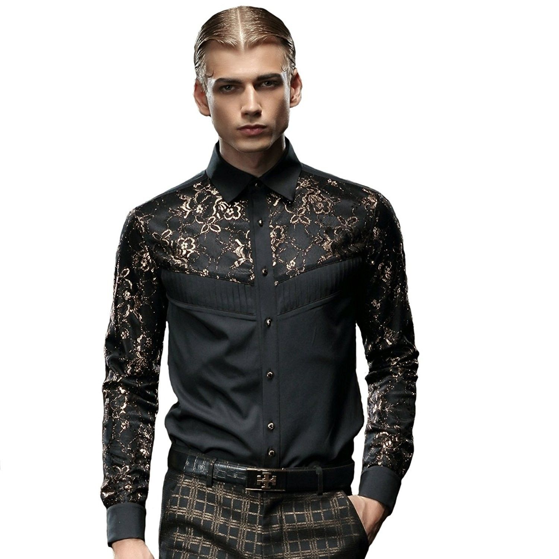 fece71f3 Men's Clothing, Shirts, Casual Button-Down Shirts, Lush Stylish Black Shirt  Long Sleeve Slim Fit Non Iron Golden Lace - C8187HI9ZH0 #men #fashion  #clothing ...