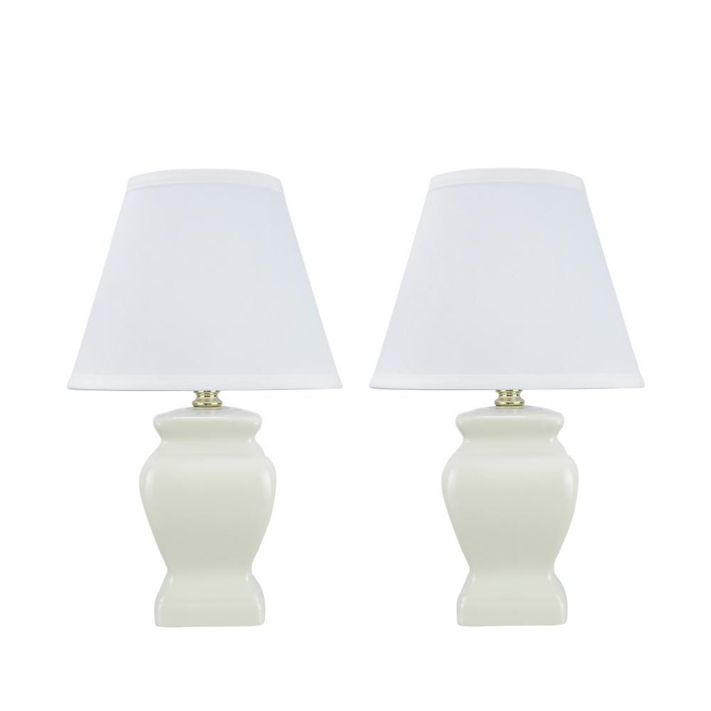 Aspen Creative Corporation 14 1 2 In White Ceramic Table Lamp With Hardback Empire Shaped Lamp Shade In White 2 Pack Ceramic Table Lamps Table Lamp Table Lamp Sets
