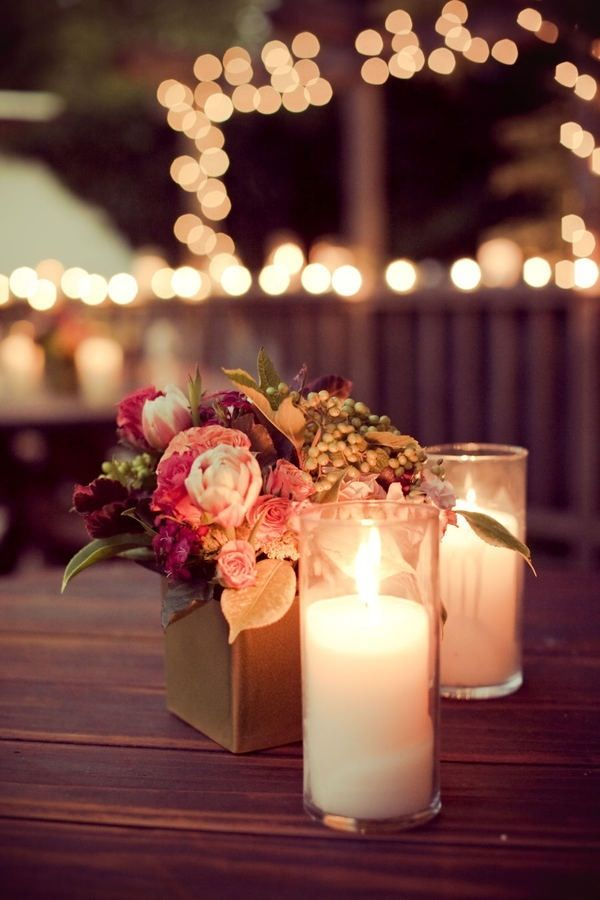 Flowers Candles Fairy Lights Wedding Table Flowers Wedding