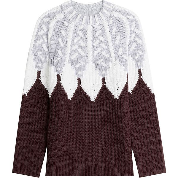 Peter Pilotto Wool Intarsia Knit Pullover (264.775 HUF) ❤ liked on Polyvore featuring tops, sweaters, multicolor, loose sweater, thick knit sweater, knit sweater, loose knit sweater and wool fair isle sweater