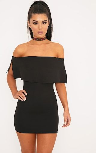 Black bodycon dress pretty little thing jean review barrington